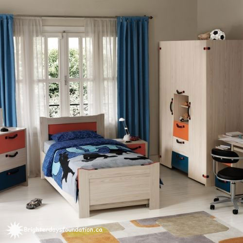 Blue youth bedroom