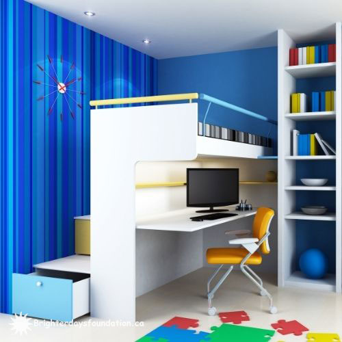 Small space bunk bed and desk design