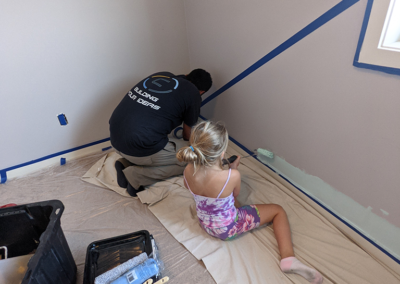 Clarke Construction Projects Dream Team working on Charlee's Bedroom