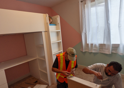 setting up charlee's new bedroom