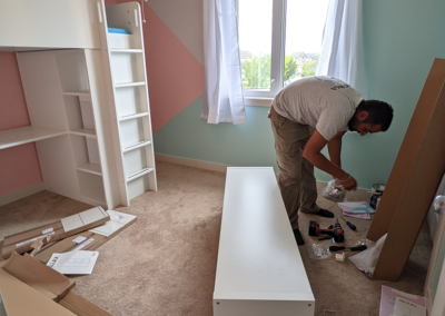 setting up the new bedroom
